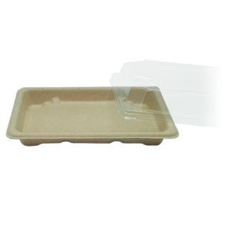 Bandeja Sushi fibra trigo + tapa OPS Sushi 164x113x20