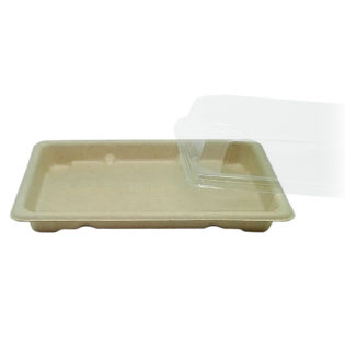 Bandeja Sushi fibra trigo + tapa OPS Sushi 186x130x20