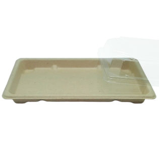 Bandeja Sushi fibra trigo + tapa OPS Sushi 213x133x20