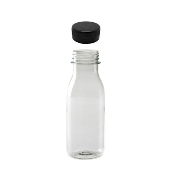 Botella PET transparente 250 ml. tapón negro zumos