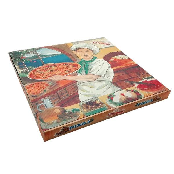Caja cartón ondulado Pizza fondo Blanco/Pizzero  33x33x4 cm.
