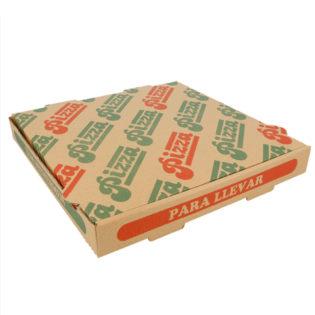 Caja cartón ondulado Pizza fondo Marrón/Pizza Para llevar 26x26x3,5 cm.