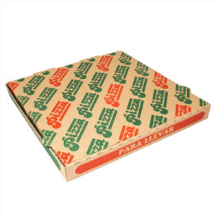 Caja cartón ondulado Pizza fondo Marrón/Pizza Para llevar 32x32x3,5 cm.