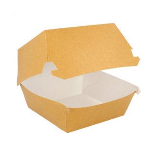 Caja concha cartón kraft antigrasa hamburguesa L 155x145x95 mm