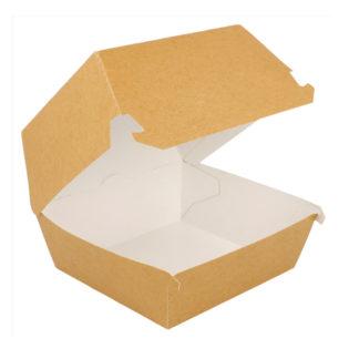 Caja concha cartón kraft antigrasa hamburguesa S 140x125x55 mm