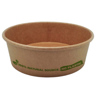 Ensaladera redonda 100% cartón kraft  tapa PETr  500 ml. Ø150x45 mm.