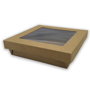 Ensaladeras cuadradas kraft tapa/ventana 190/170x50 mm.