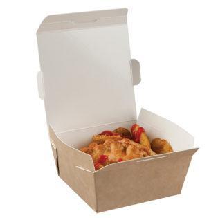 Envase cartón Kraft/blanco tapa bisagra 580 ml. 116/100x50 mm.