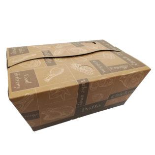 Envase cartón kraft 100% compostable pollo 230x170x100 mm.