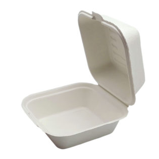 Envase concha hamburguesa bagazo blanco 153x147x44