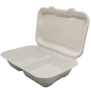 Envase menú 2 compartimientos tapa bisagra bagazo blanco 251x162x63