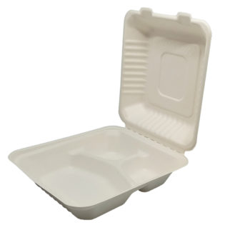 Envase menú 3 compartimientos tapa bisagra bagazo blanco 236x229x47