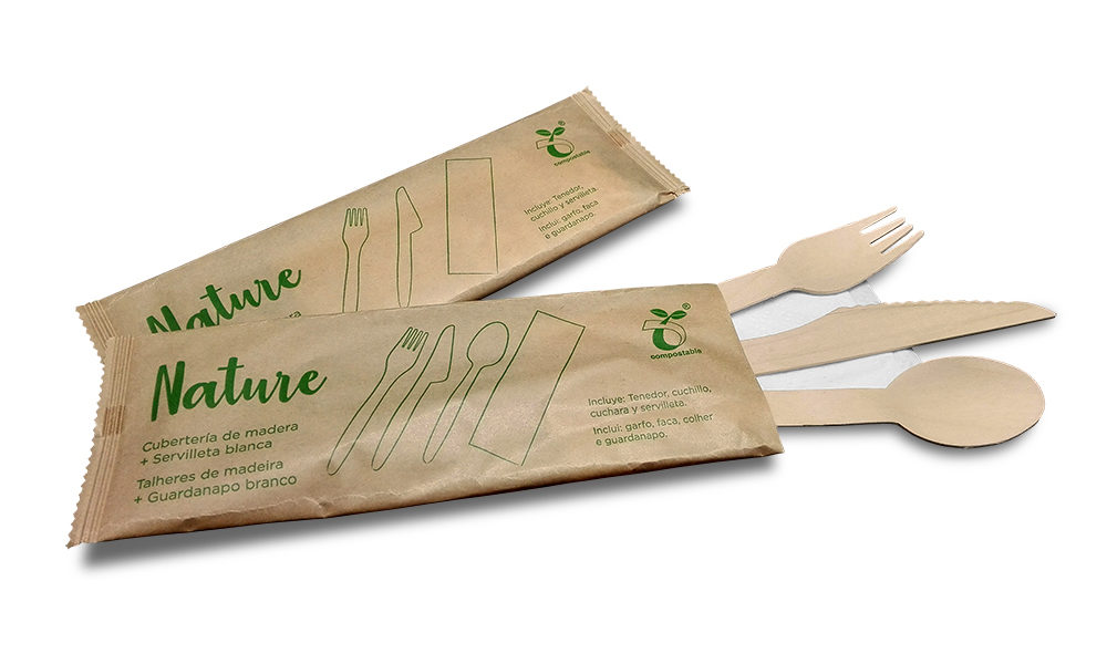 Pack 4 Servilleta, Tenedor, Cuchillo y Cuchara madera