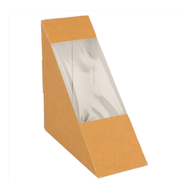 Caja sandwich  Simple cartón kraft ventana 124x124x55 mm.