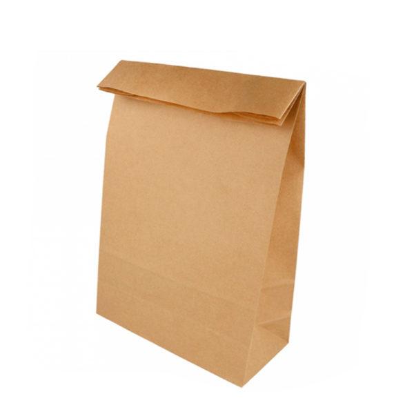 Bolsas papel Kraft 80 gr. Americanas fuelle y sin asas 22+14x37 cm