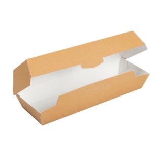 Caja Hot Dog cartón kraft antigrasa  235x90x60 mm.