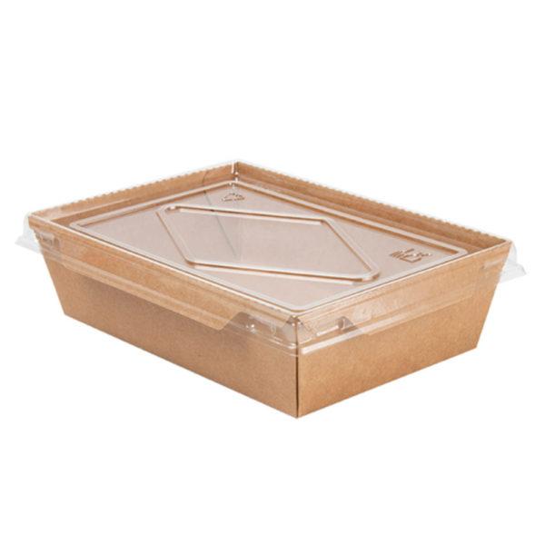 Envase rectangular kraft+pe 700 ml. +  tapa PET transparente 170x118x45