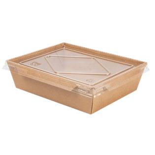 Envase rectangular kraft+pe 900 ml. +  tapa PET transparente 174x134x48
