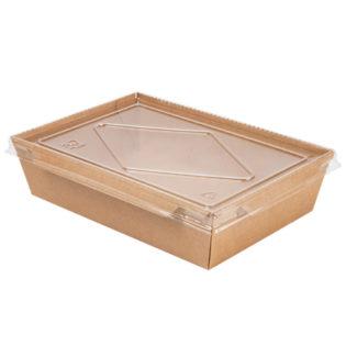 Envase rectangular kraft+pe 1200 ml. + tapa PET transparente 198x138x50
