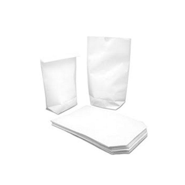 Bolsa de papel blanca base hexagonal sin asas