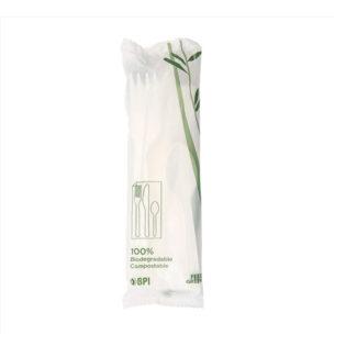 Pack 4 Servilleta, Tenedor, Cuchillo y Cuchara PLA Blanco compostable