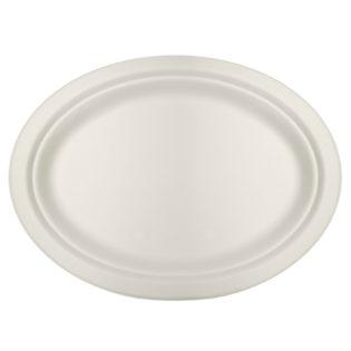 Plato plano ovalado bagazo blanco compostable 2630x199x20 mm.