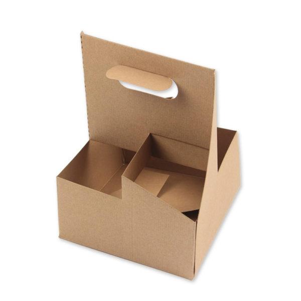 Porta vasos 4 un. Cartón Kraft 180x180x237 mm.
