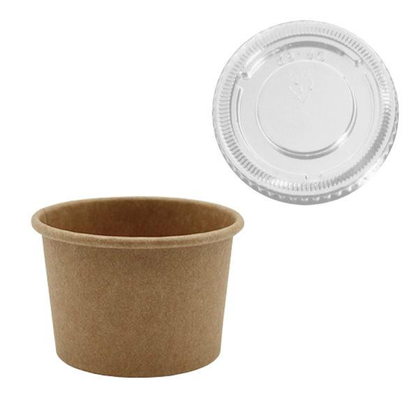 Salsera cartón Kraft+pe 30 ml. tapa PETr Ø 61,5x24 mm.
