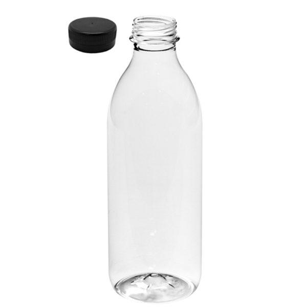 Botella PET transparente 1000 ml. tapón negro zumos
