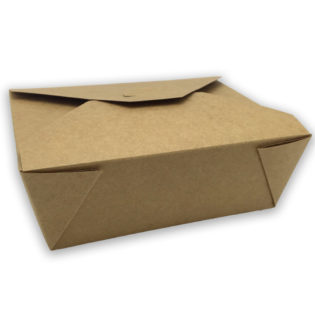 Envase tapa cartón kraft+pe take away 1350 ml. 152x120x63 mm.