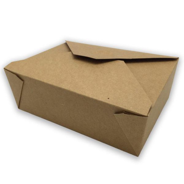 Envase tapa cartón kraft+pe take away 1980 ml. 197x140x65 mm.