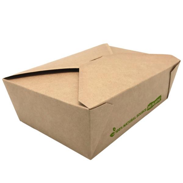 Envase 100% cartón kraft take away 1980 ml. 197x140x65