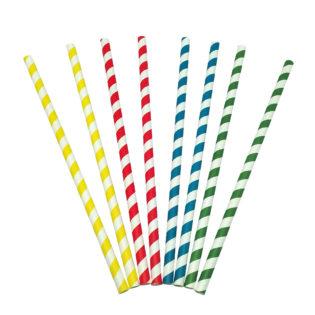Cañita papel recta rayada colores Ø 8x230 mm.