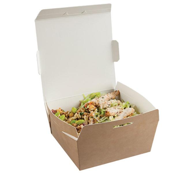 Envase cartón Kraft/blanco tapa bisagra 1060 ml. 141/125x60 mm.