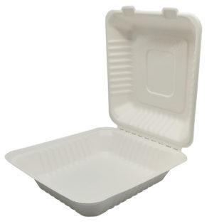 Envase rectangular tapa bisagra bagazo blanco 220x200x60