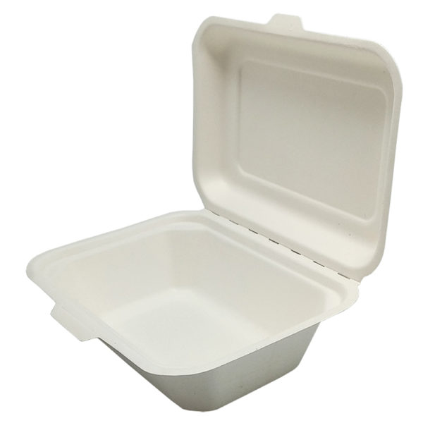 Envase rectangular tapa bisagra bagazo blanco 180x135x60