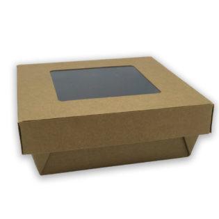 Ensaladeras cuadradas kraft tapa/ventana 140/120x50 mm.