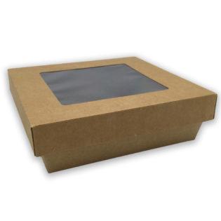Ensaladeras cuadradas kraft tapa/ventana 160/140x50 mm.