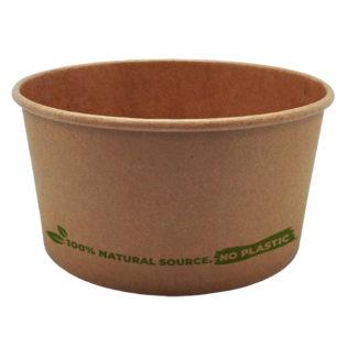 Ensaladera redonda 100% cartón kraft  tapa PETr 1000 ml. Ø150x80 mm.