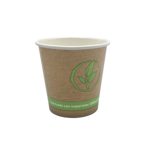 Vaso cartoncillo bebida caliente compostable 120 ml.