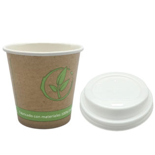 Vaso cartoncillo bebida caliente tapa blanca compostable 120 ml.