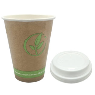 Vaso cartoncillo bebida caliente tapa blanca compostable 240 ml.