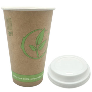 Vaso cartoncillo bebida caliente tapa blanca compostable 360 ml.