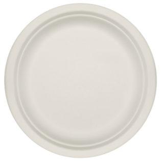 Plato plano bagazo blanco compostable Ø 220x20 mm.