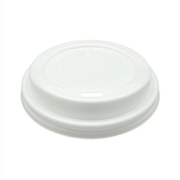 Tapa Blanca PLA compostable Ø 80 mm. vaso cartoncillo 240/360 ml.