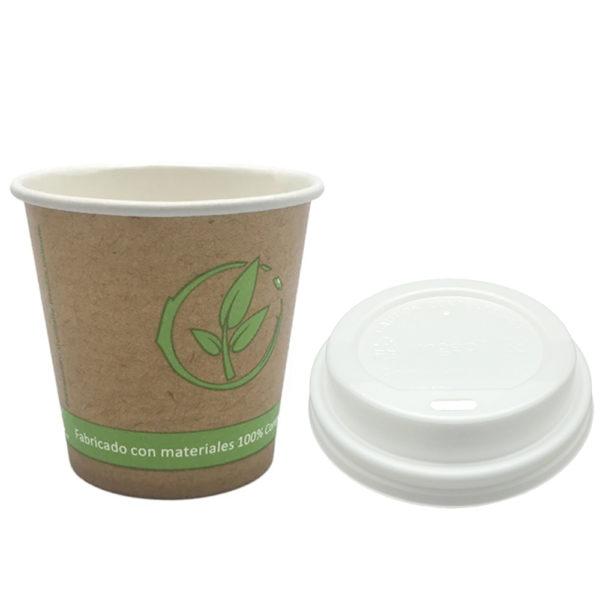 Vaso cartoncillo bebida caliente tapa blanca compostable 120 ml.