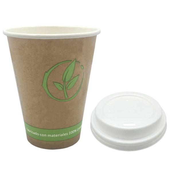 Vaso cartoncillo bebida caliente tapa blanca compostable 240 ml.