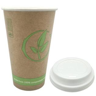 Vaso cartoncillo bebida caliente tapa blanca compostable 360 ml.