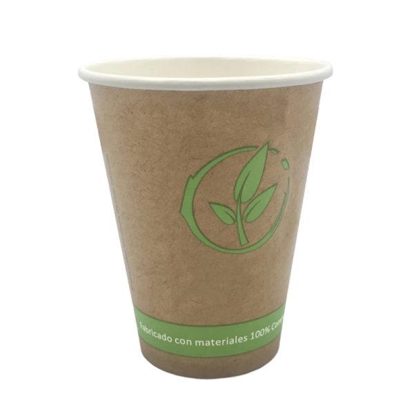 Vaso cartoncillo bebida caliente compostable 240 ml.