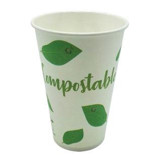 Vaso papel blanco Compostable bebida fría 240 ml
